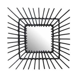 spiegel vierkant zon 58 cm zwart