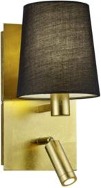 wandlamp Marriot 130cm staal/textiel 1 kg goud/zwart