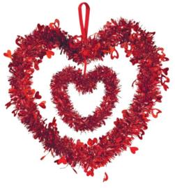 feestdecoratie hartje 30 cm folie rood