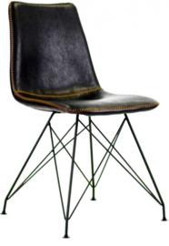 eetkamerstoel 56 x 87 cm kunstleer/staal zwart