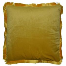 kussen 40 x 40 cm fluweel geel