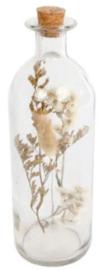 decoratiefles droogbloemen 21,5 cm glas transparant