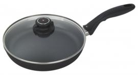 koekenpan met deksel XD 24 cm aluminium zwart