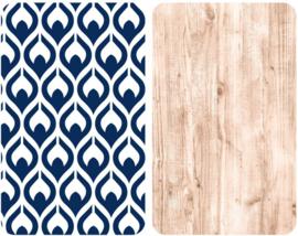 afdekplaat Fancy 30 x 52 cm wit/blauw/naturel 2 stuks