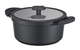 braadpan met deksel 20 cm aluminium/glas zwart