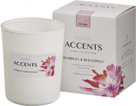 geurkaars Accents Bubbles & Blessings 9,2 cm wax wit