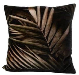 kussen palmblad 45 cm textiel bruin