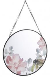 spiegel met bloemen Lita 25 cm glas zwart/roze