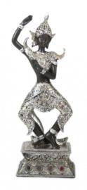 beeld Boeddha 34 x 12 x 8,5 cm polyresin zilver