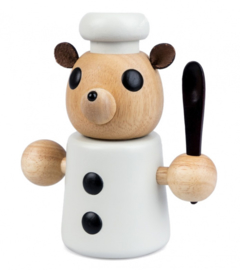 pepermolen Teddy Cook 13,5 cm wit/bruin
