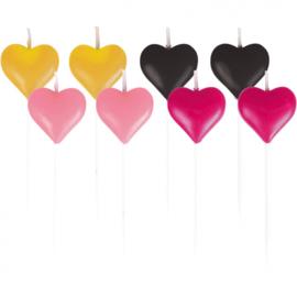 figuurkaarsen hart 7 cm geel/zwart/roze 8 stuks
