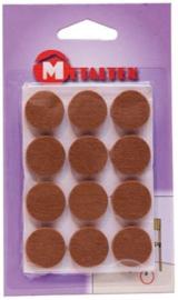 viltdoppen rond 2,2 cm bruin 12 stuks