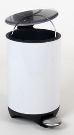 prullenbak pedaal 17 x 22 x 28 cm plastic wit 3 liter