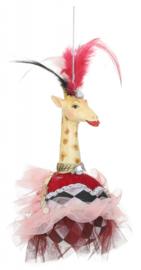 ornament giraffe 18 x 15 cm polyresin roze