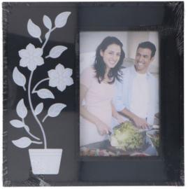fotolijst led plantenpot 21 x 20 cm zwart