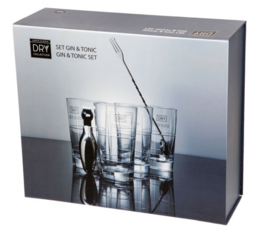 Gin-tonicset DryCollection RVS/glas 6-delig