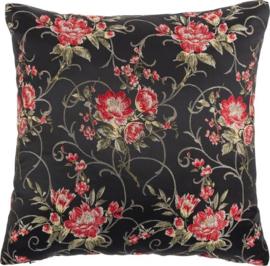 kussen Jade 45 x 45 cm polyester zwart/rood
