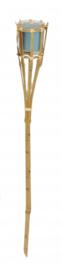 fakkel citronella 76 cm bamboe/wax beige/blauw
