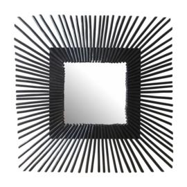 spiegel vierkant 58 cm staal zwart