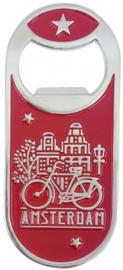 flesopener Amsterdam fiets magnetisch staal rood/zilver