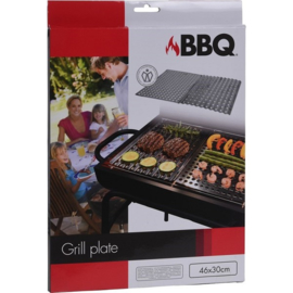Barbecue grill plaat 2 delig rvs 46x30cm