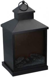 decoratieve haardlamp led 37 cm staal/glas zwart