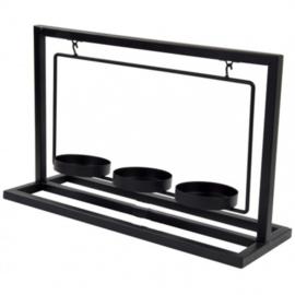 kaarsenhouder 30x10,5x19 cm staal zwart