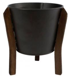 bloempot Jan 14 x 18 cm staal zwart/bruin