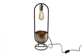 tafellamp 'Martijn' 17x17x55 cm metaal zwart/goud