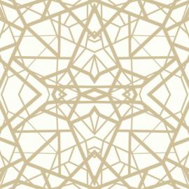 zelfklevend behang Geometrisch 52 x 500 cm wit/goud