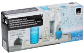 geschenkset kaarsen geurverspreider ocean blauw 5-delig