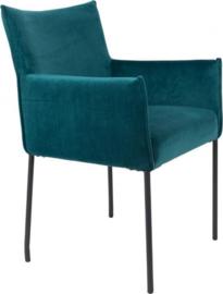 stoel Dion 64 x 59 x 86,5 cm fluweel/staal petrol/zwart