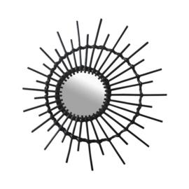 spiegel rond zon 55 x 60 cm hout zwart