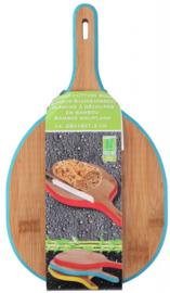 snijplank 28 x 16 cm hout bruin/blauw