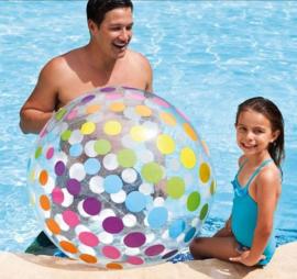 Intex jumbo strandbal met kleurige strepen 107 cm transparant