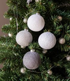 Cotton Balls kerstballen Zilver-mix 4 stuks