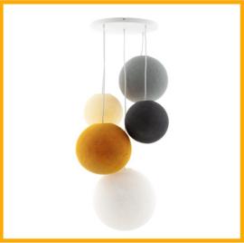 Vijfvoudige Hanglamp Cotton Balls