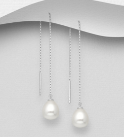 925 Sterling Silver Threader Earrings Decorated With Fresh Water Pearls
