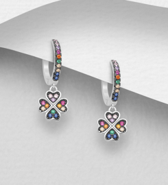 925 Sterling Silver Clover Hoop Earrings, Decorated with Colorful CZ Simulated Diamonds, Plated with Black Rhodium. Stones Colors may Vary