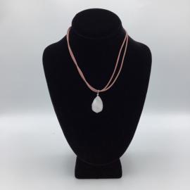 Ravishing Single Stone Rose Quartz Necklace - Leather Collection