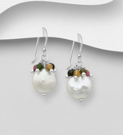 925 Sterling Silver Hook Earrings Beaded with Freshwater Pearls and Gemstone Beads
