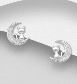 925 Sterling Silver Cat and Moon Push-Back Earrings, Decorated with CZ Simulated Diamonds