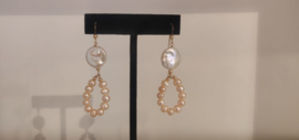 Gold Filled Rose and White Freshwater Pearl Earrings