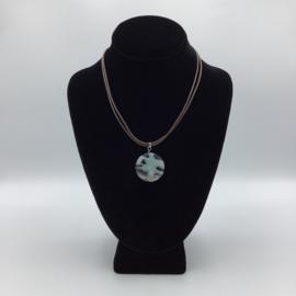 Ravishing Single Kiwi Jasper Stone Necklace - Leather Collection