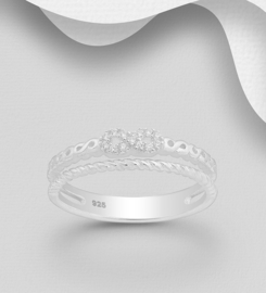 925 Sterling Silver Infinity Ring Decorated with CZ Simulated Diamonds, Plated with Pure Silver