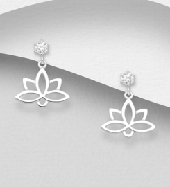 925 Sterling Silver Lotus Push-Back Earrings Decorated with CZ Simulated Diamonds