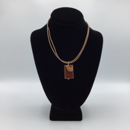 Ravishing Single Stone Carnelian Necklace - Leather Collection