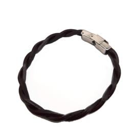 Twisted Leather, Steel Bracelet