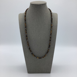 Tiger's Eye Necklace Decorated with Hematite for Men