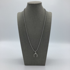 Stainless Steel Horse Shoe Necklace - For Men